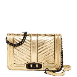 Chevron Quilted Small Love Leather Crossbody.